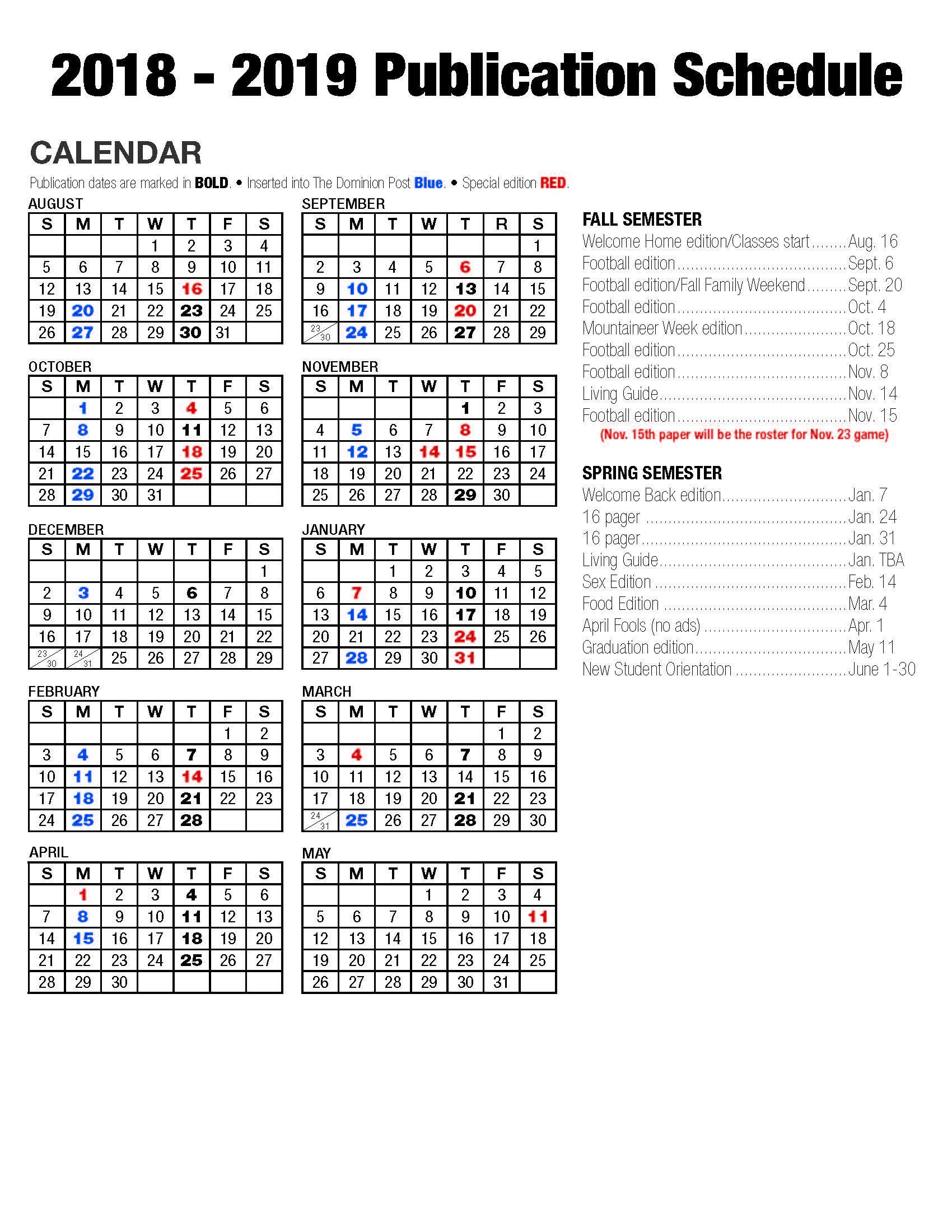 Publication Schedule Preview